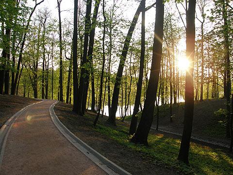 Парк, дорожка ведущая вдоль пруда по направлению к павильону «Миловида»