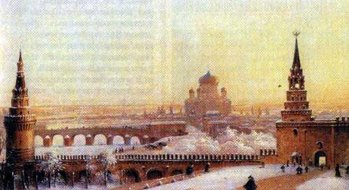 Вид на Боровицкие ворота и строящийся Храм Христа Спасителя, 1860-е годы
