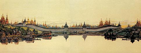 Панорама монастырских стен Белого города. Реконструкция М. Кудрявцева