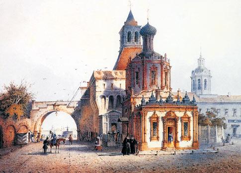 Никольские ворота. 1852 год